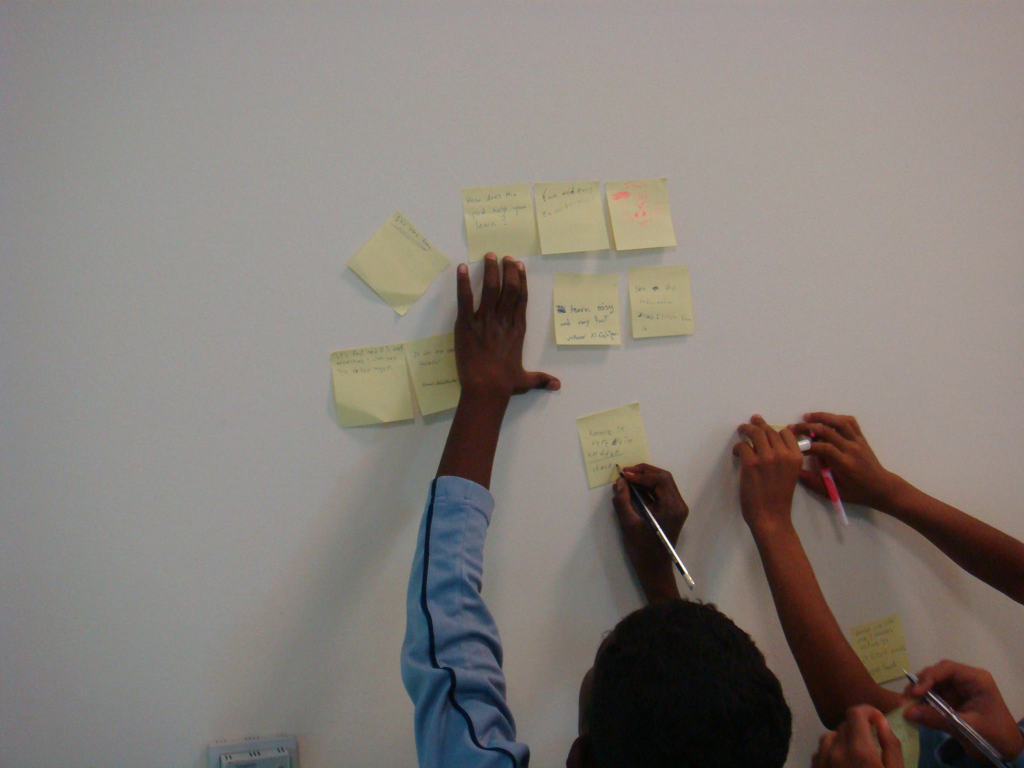 My Students sticking their notes on the wall